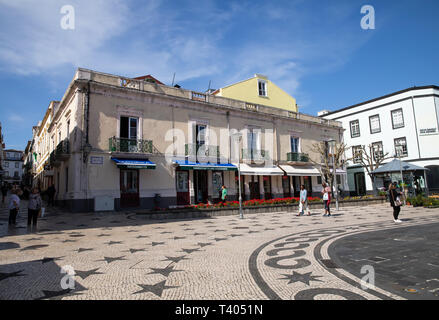 View across the town square in São Miguel in The Azores - Stock Image