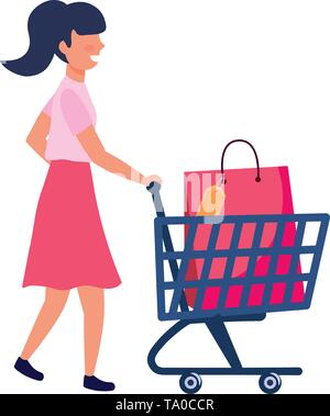 woman with shopping bag design, Commerce market store retail paying and buying theme Vector illustration - Stock Image
