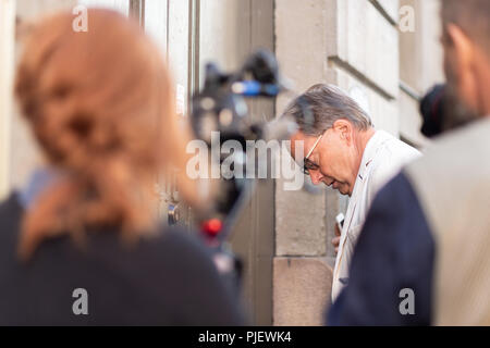 Stockholm, Sweden, September 6, 2018. Swedish Academy crisis. The Swedish Academy has its Thursday meeting after leave.  Horace Engdahl,  member of the Swedish Academy, arrives. No comments. - Stock Image