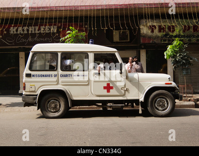 Missionaries of Charity (Mother Teresa) Ambulance, Kolkata, West Bengal, India - Stock Image