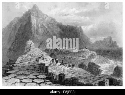 Scene on the Giants Causway County Antrim circa 1840 - Stock Image