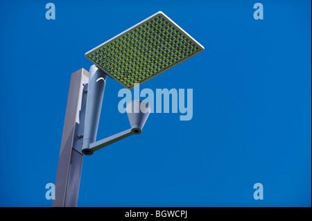Solar powered street lighting - Stock Image