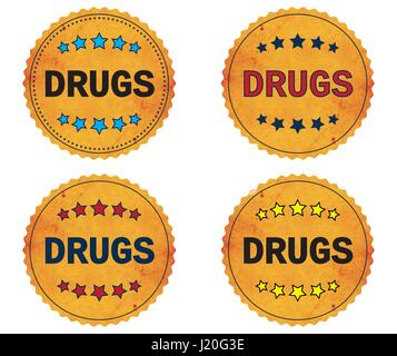 DRUGS text, on round wavy border vintage stamp badge, in color set. - Stock Image