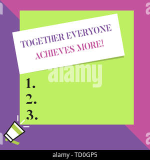 Text sign showing Together Everyone Achieves More. Business photo text Members create synergy with strong sense mutual commitment Big blank square rec - Stock Image