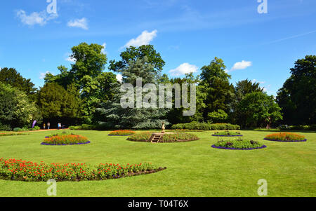 The formal gardens at Hylands House and Gardens, Writtle, Chelmsford, Essex, UK - Stock Image