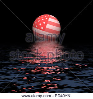 Digital Illustration - Pink Stars and Stripes flag globe rising over water. - Stock Image