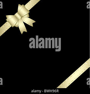 Golden gift ribbon and bow isolated on black background - Stock Image