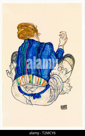 Seated Woman, Back View, painting, 1917 by Egon Schiele - Stock Image