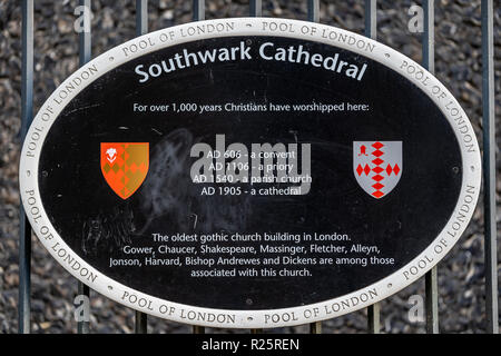 Sign outside Southwark Cathedral in London showing some information about the iconic historic church - Stock Image