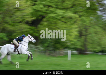 Rockingham Castle grounds, Corby, England. 19th May 2017.  Jennifer Adam and her horse Barnaby Paddy hurtle past - Stock Image