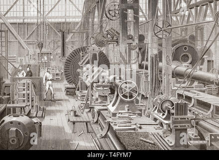 Penn's marine engine factory, Greenwich, London, England, 19th century.  Turning a crank axle. From The Illustrated London News, published 1865. - Stock Image
