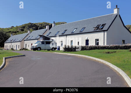 Affordable housing completed in 2016 on the Isle of Iona helping to address the shortage of accommodation on rural Scottish islands - Stock Image