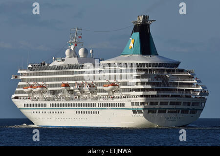 Artania leaving Kiel for a baltic cruise - Stock Image