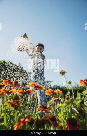 Gardener watering flowers - Stock Image