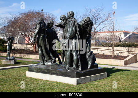 Bronze sculpture of The Burghers of Calais by Auguste Rodin in the grounds of the Hirshhorn Museum and Sculpture Garden, Washington DC - Stock Image