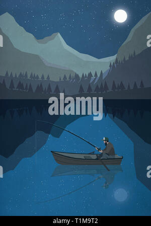 Moonlight shining over man fishing in boat on mountain lake - Stock Image