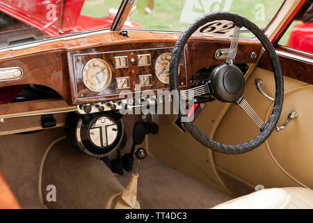 The interior of a  Red, 1950 Riley RMD, on display at the Quay Green Classic Car Meet, part of  the 2018 Sandwich Festival, Kent - Stock Image