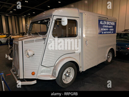 Three-quarters front view of a 1965, Citroën  H-Van Model HY, on display in the Paddock Area of the 2019 London Classic Car Show - Stock Image