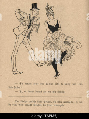 Victorian Cartoon of man dancing with a showgirl, 1880s, German 19th Century - Stock Image
