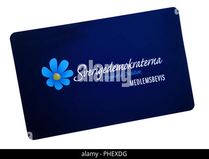 The Sweden Democrats or Swedish Democrats political party membership card front side. 'Swedish: Sverigedemokraterna' - Stock Image
