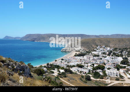 Agua Amarga is a beautiful Spanish resort town in the Cabo de Gata Natural Park in the Province of Almería, Andalucia. - Stock Image
