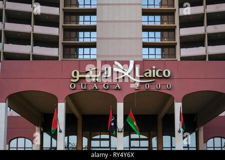 Laico Ouaga 2000 Hotel in Ouagadougou, the capital of Burkina Faso. The sign on the roof of the building reads Libya Hotels - Stock Image
