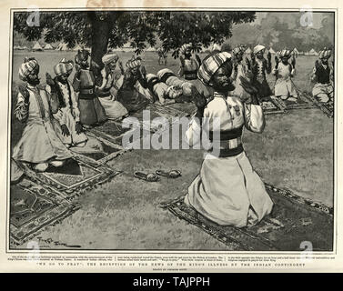 Indian soldiers praying for the health of King Edward VII (who was suffering from appendicitis) outside the Palace, 1902 - Stock Image