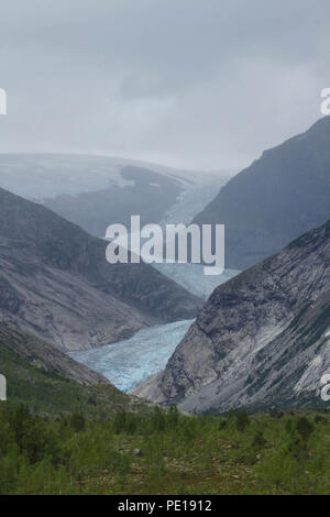 Nigardsbreeen, Norway - 7 August 2018: General view of the Nigardsbreeen Glacier  withis about an hours drive from Skjolden. Photo: David Mbiyu - Stock Image