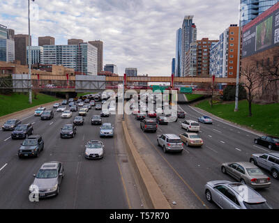 Afternoon rush hour traffic. Kennedy Expressway at Fulton Market, Chicago, Illinois. - Stock Image