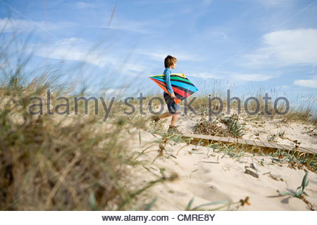 Boy with a kite - Stock Image