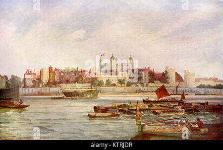 The Tower of London, Late 19th Century, After a Painting by Thomas Bush Hardy - Stock Image