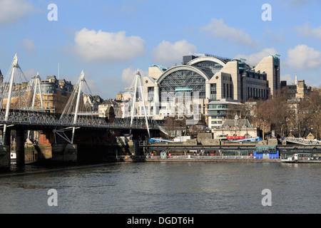 Charing Cross Station and Jubilee Bridge - Stock Image