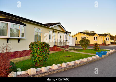 Prefabricated manufactured houses in Pathfinder Village with garden, Devon - Stock Image
