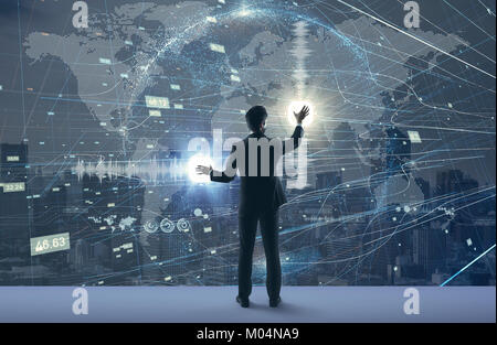 Worldwide business concept. Futuristic graphical user interface. - Stock Image