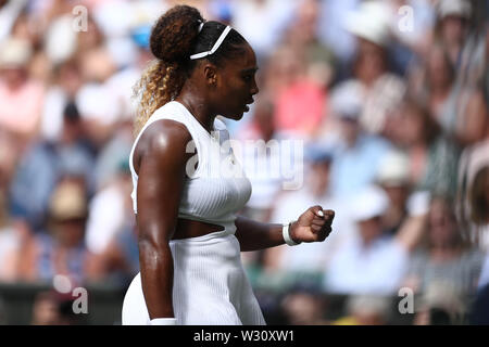 Wimbledon, UK. 11th July 2019, The All England Lawn Tennis and Croquet Club, Wimbledon, England, Wimbledon Tennis Tournament, Day 10; Serena Williams (USA) celebrates breaking Barbora Zahlavova Strycova (CZE) serve Credit: Action Plus Sports Images/Alamy Live News - Stock Image