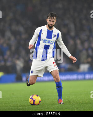 Davy Propper of Brighton during the Premier League match between Brighton and Hove Albion and Leicester City at American Express Community Stadium , Brighton , 24 November 2018 Editorial use only. No merchandising. For Football images FA and Premier League restrictions apply inc. no internet/mobile usage without FAPL license - for details contact Football Dataco - Stock Image