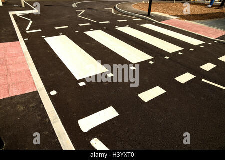 'zebra crossing' 'pedestrian crossing' safe area for crossing a road, UK - Stock Image
