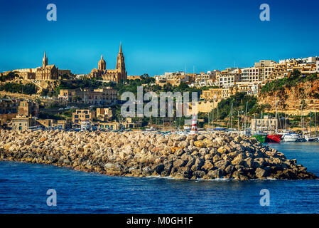 Malta: Mgarr, a harbour town in Gozo island - Stock Image