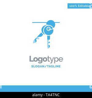 Hotel, Key, Room, Keys Blue Business Logo Template - Stock Image