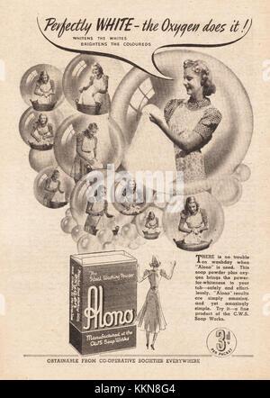 1939 UK Magazine Alono Washing Powder Advert - Stock Image