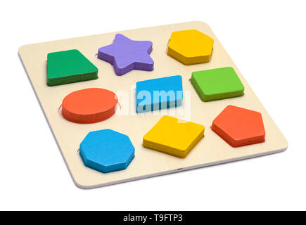 Wood Toy Block Shape Puzzle Isolated on White Background. - Stock Image