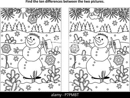 Winter holidays, New Year or Christmas themed find the ten differences picture puzzle and coloring page with happy cheerful snowman walking outdoor. - Stock Image