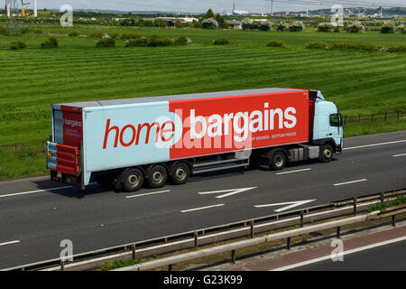 Home Bargains HGV travelling on the M56 motorway in Cheshire UK - Stock Image