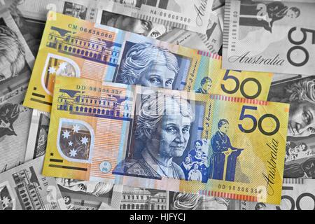 Banking, Australian dollars, bank notes - Stock Image