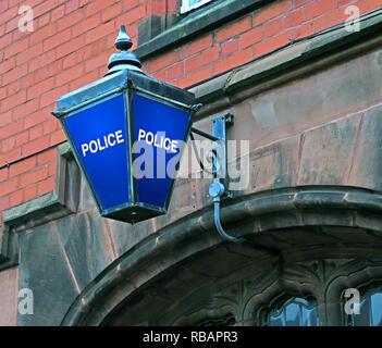 Blue Police Station Lamp, Stockton Heath Police Station, South Warrington, Cheshire, North West England, UK - Stock Image