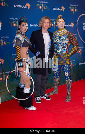 London, United Kingdom. 16 January 2019. Dougie Poynter arrives for the red carpet premiere of Cirque Du Soleil's 'Totem' held at The Royal Albert Hall. Credit: Peter Manning/Alamy Live News - Stock Image