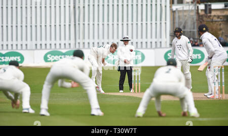 Hove Sussex, UK. 05th Apr, 2019. Tom Taylor bowling for Leicestershire against Sussex in the Specasavers County Championship Division Two match at the 1st Central County Ground in Hove on a sunny but cool first morning of the season Credit: Simon Dack/Alamy Live News - Stock Image