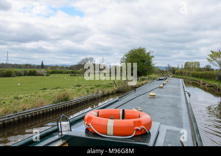 Narrowboat on the Llangollen Canal in Wales - Stock Image