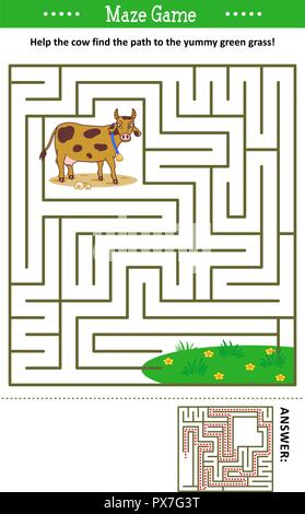 Maze game: Help the cow find the path to the yummy green grass. Answer included. - Stock Image