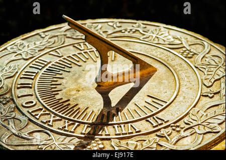 A metal sundial in a garden in Salem, Oregon. - Stock Image